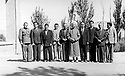 Iran 1946 .Qazi Mohammed, 5th from right, with his ministers on the terrace of his house in Mahabad. .Iran 1946.Qazi Mohammed, 5eme a droite, avec ses ministres sur la terrasse de sa maison a Mahabad .a sa droite, Sadik Haidariet 3eme a gauche, Ahmed Elahi