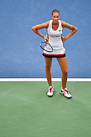 NEW YORK, USA - SEPT 10, Karolina Pliskova of Czech Republic reacts after losing a point Angelique Kerber of Germany during their Women's Singles Final Match of the 2016 US Open at the USTA Billie Jean King National Tennis Center on September 10, 2016 in New York.  photo by VIEWpress