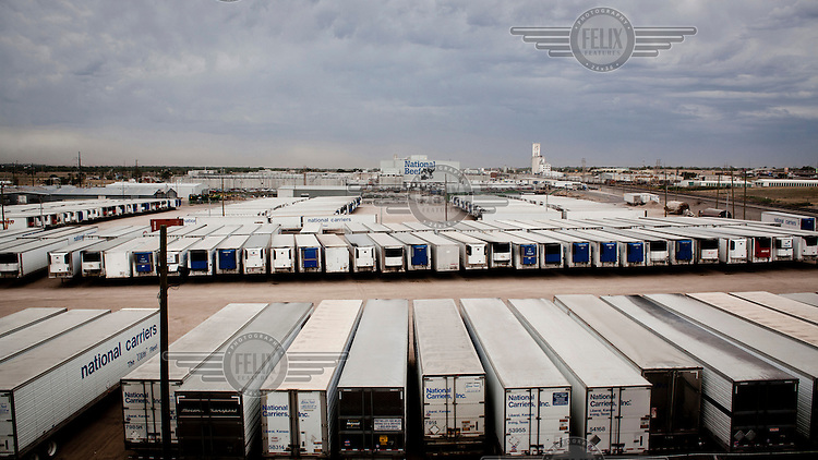 Dodge City, Kansas, USA, August 2011: Line of freezer trucks at the