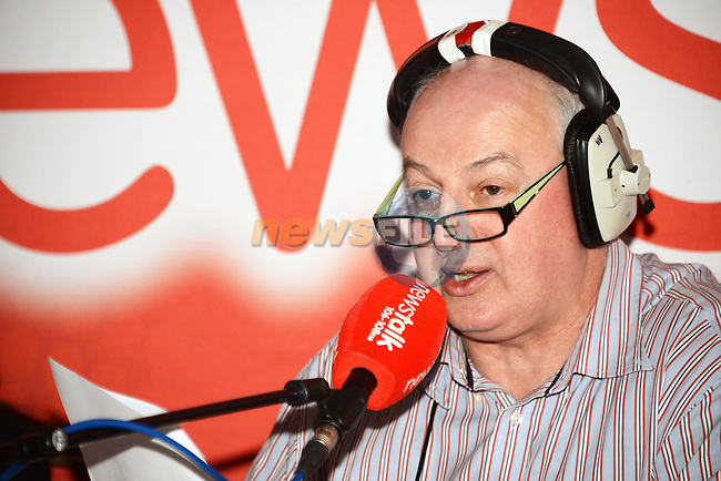 """Bobby Kerr of Newstalk during his live broadcast """"Winning back the High Street"""" from the dHotel. Photo: ANdy Spearman. www.newsfile.ie"""