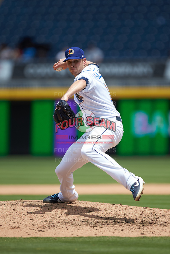Durham Bulls relief pitcher Casey Sadler (12) in action against the Columbus Clippers at Durham Bulls Athletic Park on June 1, 2019 in Durham, North Carolina. The Bulls defeated the Clippers 11-5 in game one of a doubleheader. (Brian Westerholt/Four Seam Images)