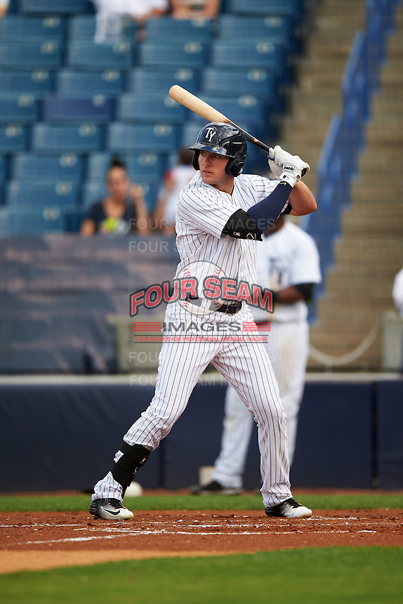 Tampa Yankees designated hitter Austin Aune (21) at bat during a game against the Bradenton Marauders on April 11, 2016 at George M. Steinbrenner Field in Tampa, Florida.  Tampa defeated Bradenton 5-2.  (Mike Janes/Four Seam Images)