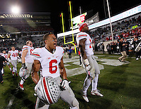 Ohio State Buckeyes wide receiver Evan Spencer (6) runs toward the fan section following Ohio State's 49-37 win over Michigan State in the NCAA football game at Spartan Stadium in East Lansing, Michigan on Nov. 8, 2014. (Adam Cairns / The Columbus Dispatch)