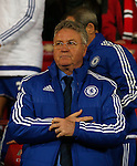 Guus Hiddink manager of Chelsea takes his seat in the dugout - English Premier League - Manchester Utd vs Chelsea - Old Trafford Stadium - Manchester - England - 28th December 2015 - Picture Simon Bellis/Sportimage