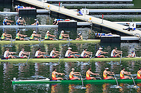 Lucerne, SWITZERLAND<br /> <br /> USA M8+, pulling away from the start pontoon at the 2016 European Olympic Qualifying Regatta, Lake Rotsee.<br /> <br /> Sunday  22/05/2016<br /> <br /> [Mandatory Credit; Peter SPURRIER/Intersport-images]