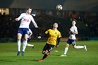 Eric Dier of Tottenham Hotspur is marked by Padraig Amond of Newport County during the Fly Emirates FA Cup Fourth Round match between Newport County and Tottenham Hotspur at Rodney Parade, Newport, Wales, UK. Saturday 27 January 2018