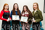 Rachel Burke, Katelyn Diggins, Danielle Flynn and Niamh Brouder, students from Causeway Comprehensive Secondary School, pictured at the Kerry Education and Training Board student awards night, at the Institute of Technology, Tralee on Friday night last.