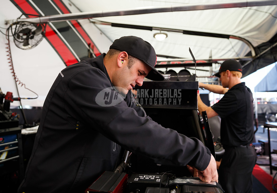 May 7, 2017; Commerce, GA, USA; Crew member for NHRA top fuel driver Steve Torrence during the Southern Nationals at Atlanta Dragway. Mandatory Credit: Mark J. Rebilas-USA TODAY Sports