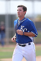 Daniel Rockett #34 of the Kansas City Royals during a Minor League Spring Training Game against the Texas Rangers at the Kansas City Royals Spring Training Complex on March 20, 2014 in Surprise, Arizona. (Larry Goren/Four Seam Images)