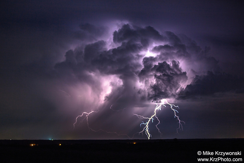 Colorful Lightning Display in Oklahoma, May 8, 2013