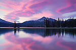 Colorful sky at sunset at Sparks Lake in Deschutes National Forest, Oregon, USA