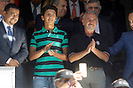 Syrian refugee, Osama Abdul Mohosen with his son Mohamad during Real Madrid vs Granada, La Liga match. September 19,2015. (ALTERPHOTOS/Acero)
