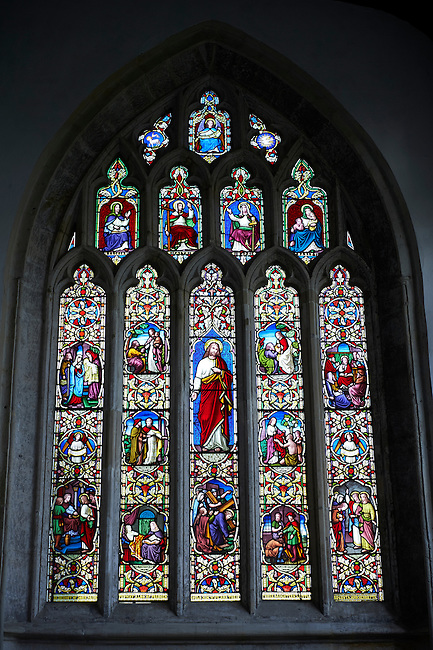 18th century stained galss of the Church of St Cuthbert, Wells, Somerset, England