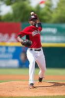 Hickory Crawdads starting pitcher Yohander Mendez (21) in action against the Savannah Sand Gnats at L.P. Frans Stadium on June 14, 2015 in Hickory, North Carolina.  The Crawdads defeated the Sand Gnats 8-1.  (Brian Westerholt/Four Seam Images)