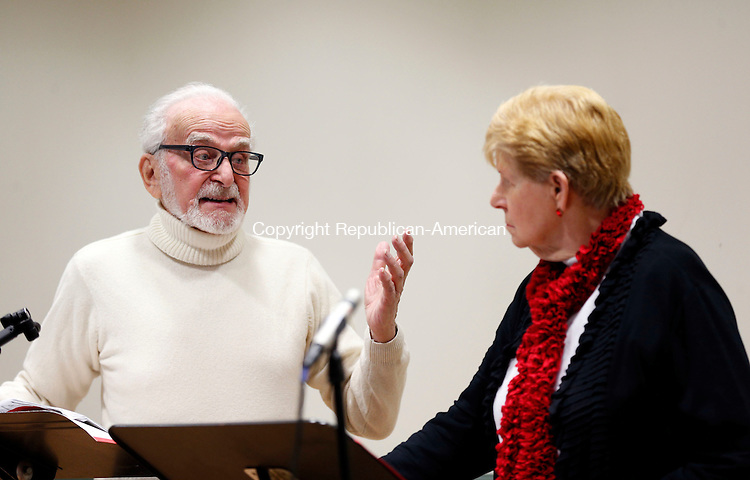"Southbury, CT- 22 February 2016-022216CM05-   Cal Turin, left, as ""Kenny"" and Georgeann Colin as ""Sheryl"" both of Southbury, put on Allan Knee's ""St Valentine's Day Massacre""  directed by John Giustra, during ""Love and Other Misdemeanors"" at the Southbury Public Library on Monday.  The performance was part of several shows put on by the Heritage Theatre Guild which will benefit the Southbury Food Bank.   Christopher Massa Republican-American"