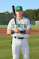 Clinton LumberKings Peyton Burdick (27) poses for a photo before a Midwest League game against the Burlington Bees on August 28, 2019 at Community Field in Burlington, Iowa.  Clinton defeated Burlington 5-0.  (Travis Berg/Four Seam Images)
