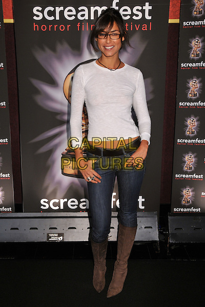 "ELENI TZIMAS.""Splinter"" Los Angeles Premiere at Mann's Chinese 6 Theatre, Hollywood, California, USA..October 15th, 2008.full length white top jeans denim tucked into brown boots .CAP/ADM/BP.©Byron Purvis/AdMedia/Capital Pictures."