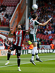 Kieron Freeman of Sheffield Utd and Ryan Hedges of Barnsley during the Championship League match at Bramall Lane Stadium, Sheffield. Picture date 19th August 2017. Picture credit should read: Simon Bellis/Sportimage