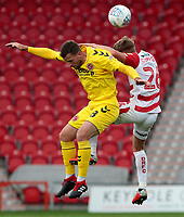 Fleetwood Town's Kyle Dempsey battles with Doncaster Rovers' James Coppinger<br /> <br /> Photographer David Shipman/CameraSport<br /> <br /> The EFL Sky Bet League One - Doncaster Rovers v Fleetwood Town - Saturday 6th October 2018 - Keepmoat Stadium - Doncaster<br /> <br /> World Copyright © 2018 CameraSport. All rights reserved. 43 Linden Ave. Countesthorpe. Leicester. England. LE8 5PG - Tel: +44 (0) 116 277 4147 - admin@camerasport.com - www.camerasport.com