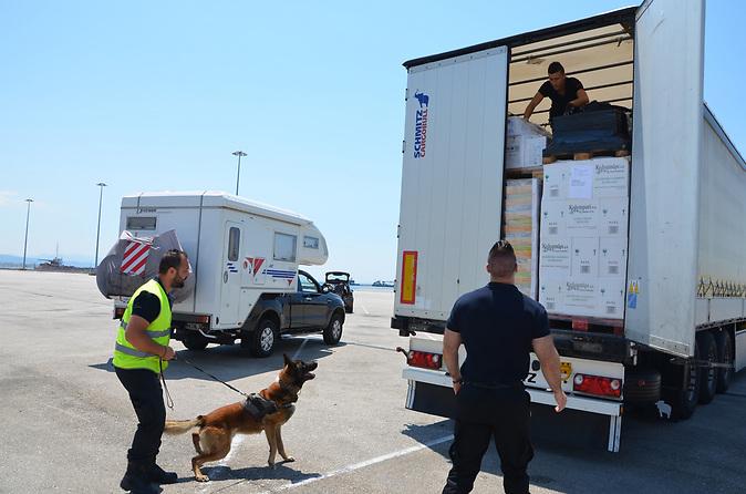 """Suchhund """"Flash"""" im Hafen von Patras / Migrant im Lkw entdeckt"""