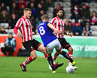Lincoln City's Michael O'Connor, left and Bruno Andrade, right vies for possession with Crewe Alexandra's James Jones<br /> <br /> Photographer Andrew Vaughan/CameraSport<br /> <br /> The EFL Sky Bet League Two - Lincoln City v Crewe Alexandra - Saturday 6th October 2018 - Sincil Bank - Lincoln<br /> <br /> World Copyright &copy; 2018 CameraSport. All rights reserved. 43 Linden Ave. Countesthorpe. Leicester. England. LE8 5PG - Tel: +44 (0) 116 277 4147 - admin@camerasport.com - www.camerasport.com