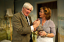 "London, UK. 10/10/2011. ""Drama at Inish"", by Lennox Robinson, opens at the multi-award winning Finborough Theatre. Cast comprises: Juliet Cadzow, Anthony Delaney, Rupert Frazer, Hermione Gulliford, Seamus Hoolihan, Celia Imrie, Jack Klaff, Lee Knight, Christopher Logan, Frances Low, Oengus MacNamara. Ellie Turner, David Walshe. Picture shows:Celia Imrie (as Lizzie Twohig) and Jack Klaff (as John Twohig). Photo credit: Jane Hobson"