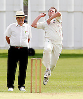 Martin Tucker bowls for Hornsey during the Middlesex County League Division Two game between Hornsey and Highgate at Tivoli Road, Crouch End on Saturday Aug 13, 2011