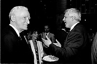 File Photo - Claude Ryan and Pierre-Marc Johnson  attend<br /> Montreal 350th anniversary kick off celebrations, May 17, 1992, at Place-d-armes,<br /> <br />  Photo :  Agence Quebec Presse- Pierre Roussel