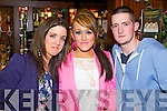 Pictured in Charlie Foley's bar, Killarney on  New Year's Eve were l-r: Sarah Sheehan (Castlemaine) Sheridan Dwyer (Castlemaine) and Cathal McCarthy (Lixnaw).