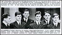 BNPS.co.uk (01202 558833)<br /> Pic:  DixNoonanWebb/BNPS<br /> <br /> The six surviving crewman who were decorated for their role in a daring raid on the Tirpitz.  Edmund Goddard is pictured second from the left.<br /> <br /> The gallantry medals awarded to one of the heroes of a daring raid on the Tirpitz who later escaped a Nazi death march have emerged for sale for &pound;50,000.<br /> <br /> Engine Room Artificer 4th Class Edmund Goddard was the helmsman of the midget submarine X6 which attacked the heavily protected battleship while it was docked in the Norwegian fjords.<br /> <br /> They sneaked under the giant 820ft vessel and set off four depth charges, with the force of the explosion putting the 43,000 tonne Tirpitz 7ft out of action for six months.<br /> <br /> Goddard, one of just six survivors from the raid, was captured and sent to a POW camp in Germany. He was later awarded the prestigious Conspicuous Gallantry Medal.