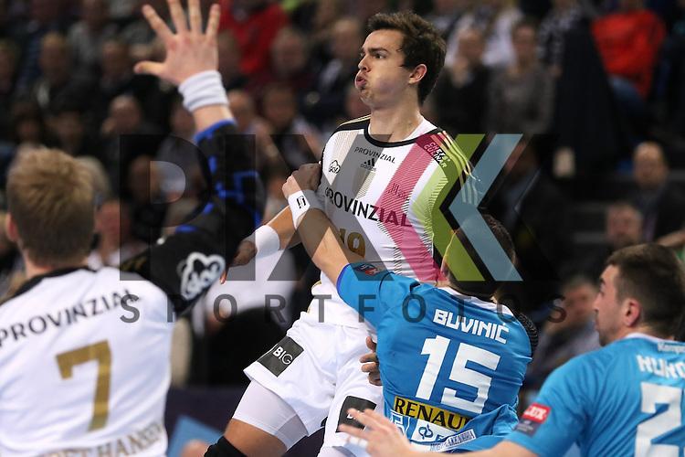 Kiel, 15.02.15, Sport, Handball, Champions League, Gruppenphase, THW Kiel - HC Metalurg Skopje : Rene Toft Hansen (THW Kiel, #7), Rasmus Lauge (THW Kiel, #19), Marko Buvinic (HC Metalurg Skopje, #15)<br /> <br /> Foto &copy; P-I-X.org *** Foto ist honorarpflichtig! *** Auf Anfrage in hoeherer Qualitaet/Aufloesung. Belegexemplar erbeten. Veroeffentlichung ausschliesslich fuer journalistisch-publizistische Zwecke. For editorial use only.