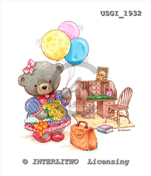 GIORDANO, CUTE ANIMALS, LUSTIGE TIERE, ANIMALITOS DIVERTIDOS, Teddies, paintings+++++,USGI1932,#AC# teddy bears