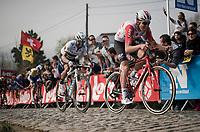 Tiesj Benoot (BEL/Lotto-Soudal) in the final ascent up the Paterberg<br /> <br /> 103rd Ronde van Vlaanderen 2019<br /> One day race from Antwerp to Oudenaarde (BEL/270km)<br /> <br /> ©kramon