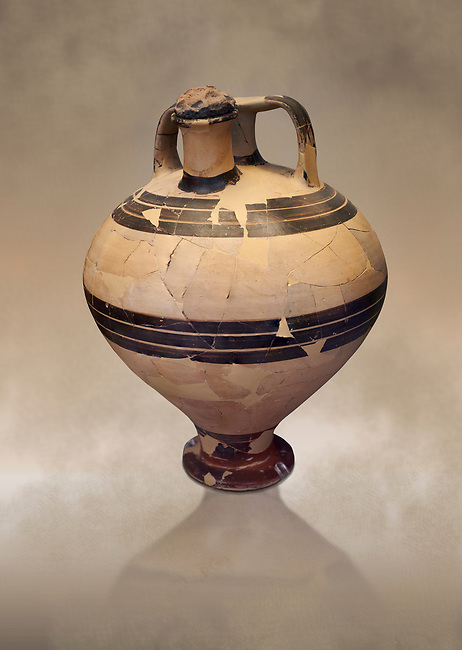 Mycenaean styrup jar from the House of the oil merchant, Mycenae Acropolis 14-13thj Cent BC. National Archaeological Museum Athens. Cat No 7626.