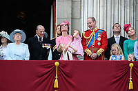HM Queen Elizabeth II &amp; Prince Philip, Duke of Edinburgh; Catherine, Duchess of Cambridge; Princess Charlotte; Prince George &amp; Prince William, Duke of Cambridge; Peter &amp; Autumn Phillips &amp; Savannah Phillips on the balcony of Buckingham Palace following the Trooping of the Colour Ceremony celebrating the Queen's official birthday. London, UK. <br /> 17 June  2017<br /> Picture: Steve Vas/Featureflash/SilverHub 0208 004 5359 sales@silverhubmedia.com