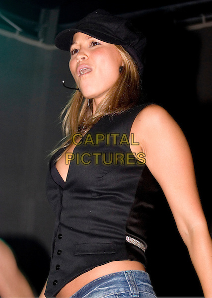 RACHEL STEVENS.Blackpool Illuminations - press launch & photocall..Blackpool seafront, Blackpool, Lancashire..September 2nd, 2005.half length stage concert live performance black vest hat singing unbuttoned.www.capitalpictures.com.sales@capitalpictures.com.© Capital Pictures.