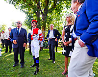 STANTON, DE - JULY 15: Jockey Mike Smith, Fox Hill Farm owner Rick Porter and trainer Jerry Hollendorfer chat before winning the Delaware Handicap on Delaware Handicap Day on July 8, 2017 at Delaware Park Race Track in Stanton, Delaware. (Photo by Scott Serio/Eclipse Sportswire/Getty Images)