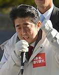 December 11, 2012, Tokorozawa, Japan - Bundled up in a warm coat, Shinzo Abe of the Liberal Democratic Party delivers his speech during a stumping stop at Tokorozawa, Tokyo's western suburbs, on Monday, December 11.2012. With a general election less than a week away, Abe7s LDP is leading far ahead of Prime Minister Yoshihiko Noda's Democratic Party of Japan.  (Photo by Natsuki Sakai/AFLO) AYF -mis-