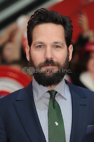 LONDON, ENGLAND - APRIL 26: Paul Rudd attends the European premiere of Captain America: Civil War at Westfield Shopping Centre on April 26, 2016 in London, England.<br /> CAP/BEL<br /> &copy;BEL/Capital Pictures /MediaPunch ***NORTH AMERICAN AND SOUTH AMERICAN SALES ONLY***