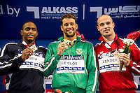 (L to R)  SMITH Giles USA; LE CLOS Chad RSA; LENDER Ivan SRB<br /> 50 Butterfly men<br /> FINA Airweave Swimming World Cup 2015<br /> Doha, Qatar 2015  Nov.2 nd - 3 rd<br /> Day1 - Nov. 2 nd Finals<br /> Photo G. Scala/Deepbluemedia