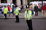 May Day march and rally at Trafalgar Square, May 1st, 2010 police on duty
