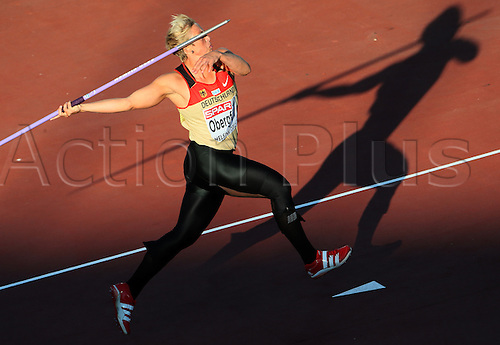 29 06 2012 Helsinki, Finland.  Christina Obergfoell of Germany competes during the Javelin Final on the European Athletics Championships 2012 at the Olympic Stadium in Helsinki, Finland, 29 June 2012. Obergfoell reached second.