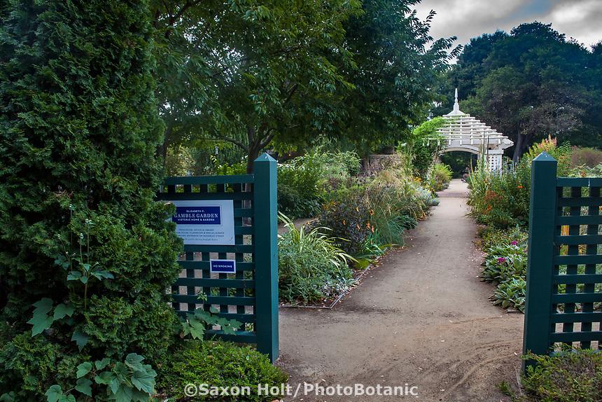 Entry path to Gamble Garden, Palo Alto, California