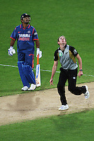 India captain MS Dhoni and NZ bowler Iain O'Brien watch Yusuf Pathan's shot go into the crowd during 2nd Twenty20 cricket match match between New Zealand Black Caps and West Indies at Westpac Stadium, Wellington, New Zealand on Friday, 27 February 2009. Photo: Dave Lintott / lintottphoto.co.nz
