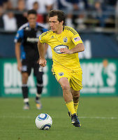 Guillermo Barros Schelotto of the Crew in action during the game against the Earthquakes at Buck Shaw Stadium in Santa Clara, California on June 2nd, 2010.  San Jose Earthquakes tied Columbus Crew, 2-2.