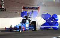 Oct. 27, 2012; Las Vegas, NV, USA: NHRA top fuel driver T.J. Zizzo during qualifying for the Big O Tires Nationals at The Strip in Las Vegas. Mandatory Credit: Mark J. Rebilas-
