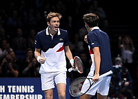 Pierre-Hughes Herbert and partner  Nicolas Mahut celebrating scoring a point against Jack Sock and Mike Bryan in their doubles Final match today<br /> <br /> Photographer Hannah Fountain/CameraSport<br /> <br /> International Tennis - Nitto ATP World Tour Finals Day 8 - O2 Arena - London - Sunday 18th November 2018<br /> <br /> World Copyright &copy; 2018 CameraSport. All rights reserved. 43 Linden Ave. Countesthorpe. Leicester. England. LE8 5PG - Tel: +44 (0) 116 277 4147 - admin@camerasport.com - www.camerasport.com