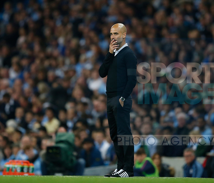 Josep Guardiola manager of Manchester City during the Premier League match at the Eithad Stadium, Manchester. Picture date 21st August 2017. Picture credit should read: Simon Bellis/Sportimage