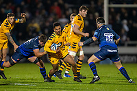 8th November 2019; AJ Bell Stadium, Salford, Lancashire, England; English Premiership Rugby, Sale Sharks versus Coventry Wasps; Zach Kibirige of Wasps is tackled by Jono Ross of Sale Sharks - Editorial Use