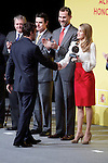 Formula One driver Fernando Alonso shakes hands with Spain's crown Prince Felipe and Princess Letizia during a ceremony to designate Spain Brand ambassadors. February 12, 2013. (ALTERPHOTOS/Alvaro Hernandez)
